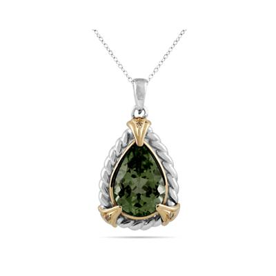 Pear Shape Green  Amethyst and Diamond Pendant 14K Yellow Gold and Silver