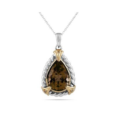 Pear Shape Smokey Quartz and Diamond Pendant 14K Yellow Gold and Silver