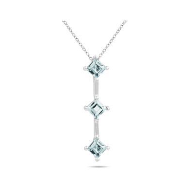 1.35ctw Three Aquamarine Drop Pendant in White Gold