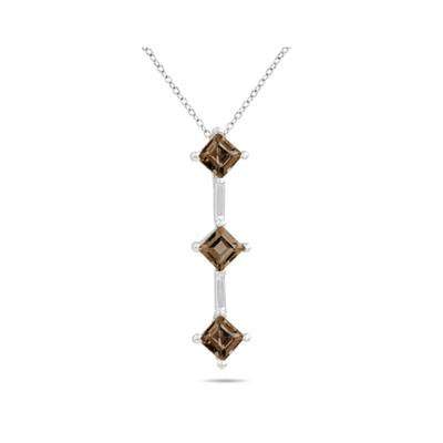 1.35ctw Three Smokey Quartz Drop Pendant in White Gold