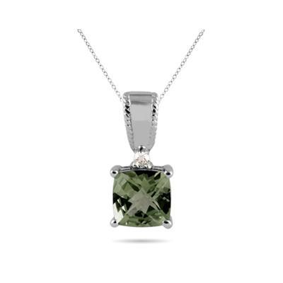 Green Amethyst and Diamond Pendant 10k White Gold