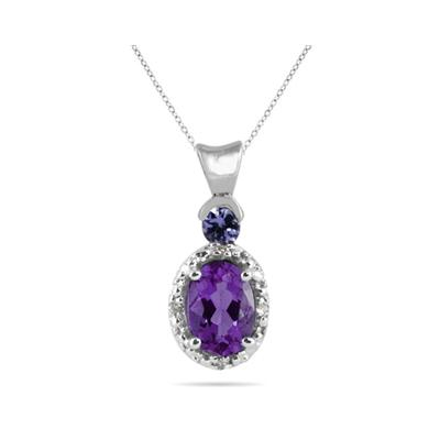 Amethyst and Tanzanite Diamond Pendant in 10k White Gold