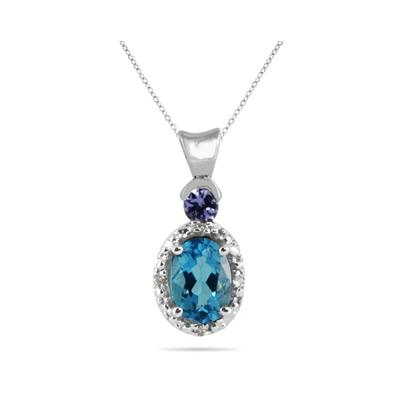 Blue Topaz and Tanzanite Diamond Pendant in 10k White Gold