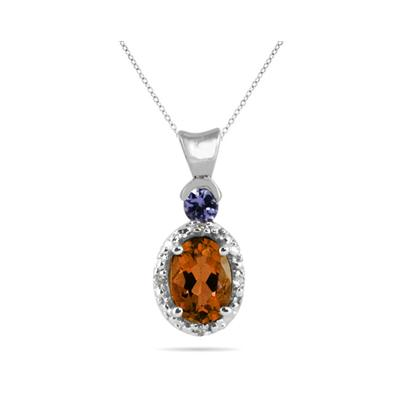 Citrine and Tanzanite Diamond Pendant in 10k White Gold