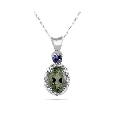 Green Amethyst and Tanzanite Diamond Pendant in 10k White Gold