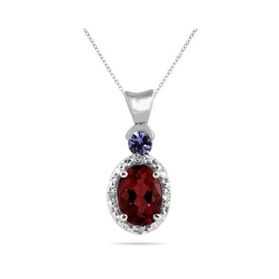 Garnet and Tanzanite Diamond Pendant in 10k White Gold