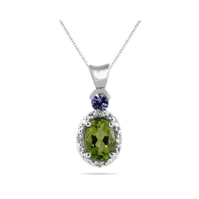 Peridot and Tanzanite Diamond Pendant in 10k White Gold