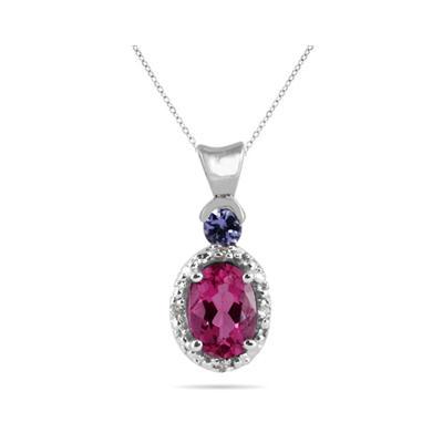 Pink Topaz and Tanzanite Diamond Pendant in 10k White Gold