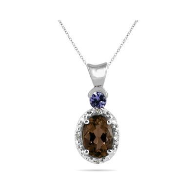 Smokey Quartz and Tanzanite Diamond Pendant in 10k White Gold