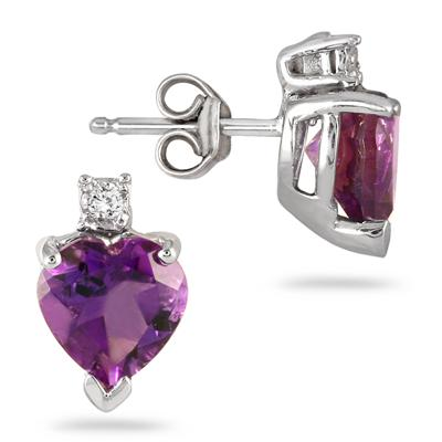 4.50 Carat All Natural Heart Shaped Amethyst and Diamond Set in .925 Sterling Silver