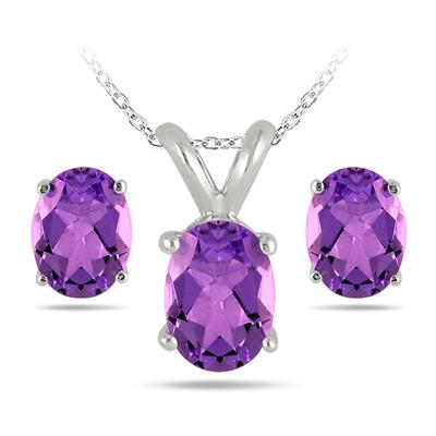3.50 Carat All Natural Oval Amethyst Stud Jewelry Set in .925 Sterling Silver
