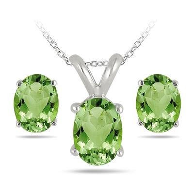 3.50 Carat All Natural Oval Peridot Stud Jewelry Set in .925 Sterling Silver
