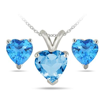 2.40 Carat All Natural Heart Shaped Blue Topaz Stud Jewelry Set in .925 Sterling Silver