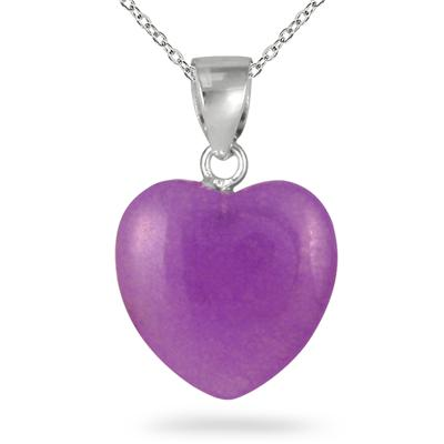 15mm All Natural Lavender Jade Heart Pendant and Earring Set in .925 Sterling Silver