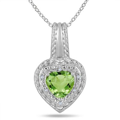 3.25 Carat All Natural Heart  Shaped Peridot and Diamond Set in .925 Sterling Silver