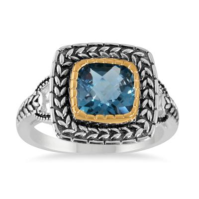 10 Carat TW London Blue Topaz Antique Set in 18K Gold Plated Sterlign Silver