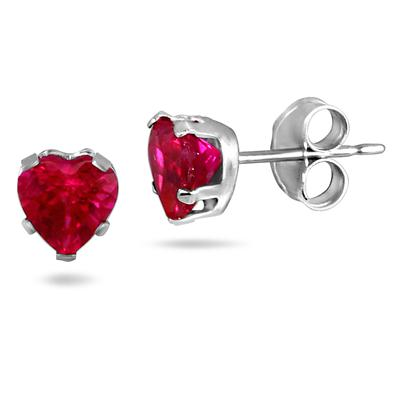 5-6MM Created Ruby Earring and Pendant Set in .925 Sterling Silver