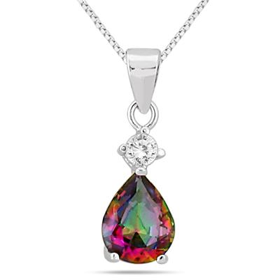 4.25 Carat Natural Mystic Rainbow Topaz Pendant and Earring Set in .925 Sterling Silver