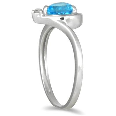 1CT Heart-shaped Blue Topaz and Diamond Ring in 10K White Gold