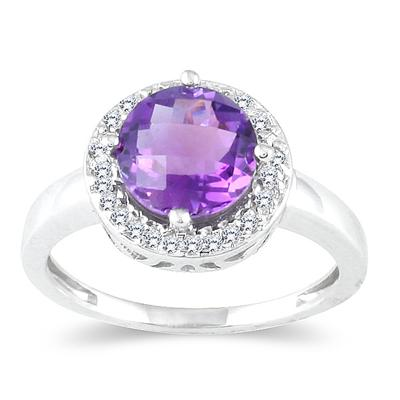 10K White Gold Amethyst and 0.15ctw Diamond Ring