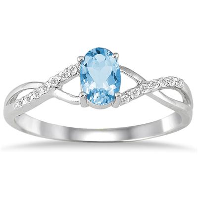 BlueTopaz and Diamond Twist Ring in 10K White Gold