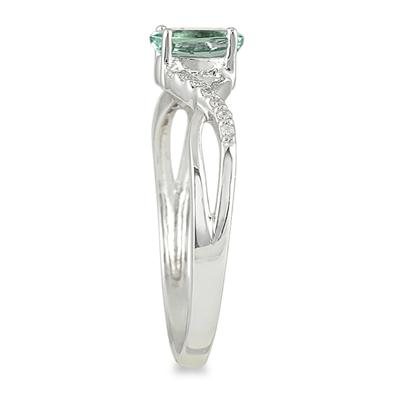 GreenAmethyst and Diamond Twist Ring in 10K White Gold