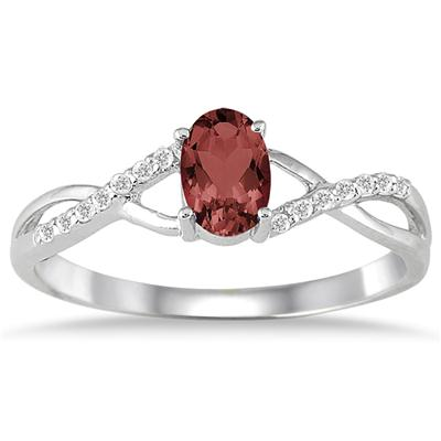 Garnet and Diamond Twist Ring in 10K White Gold