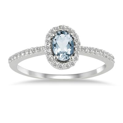 Aquamarine and Diamnd Halo Ring in 10k White Gold