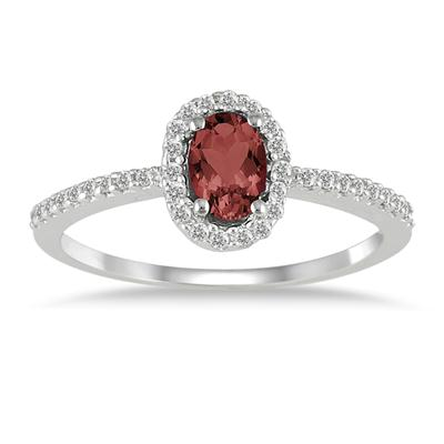 Garnet and Diamond Halo Ring in 10K White Gold