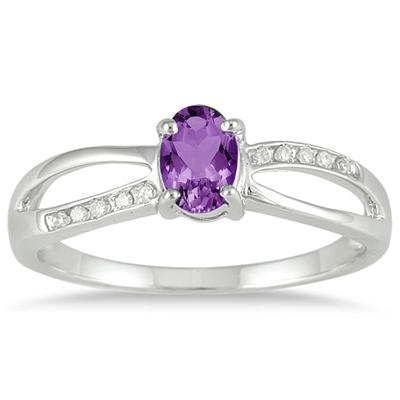 Amethyst and Diamond Split Ring in 10K White Gold