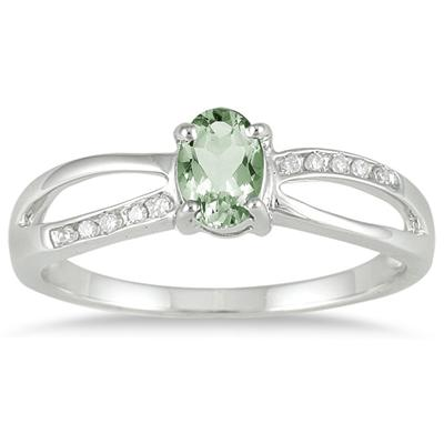 Green Amethyst and Diamnd Split Ring in 10k White Gold
