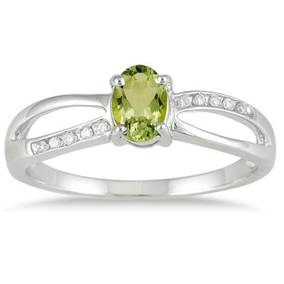 Peridot and Diamond Split Ring in 10K White Gold
