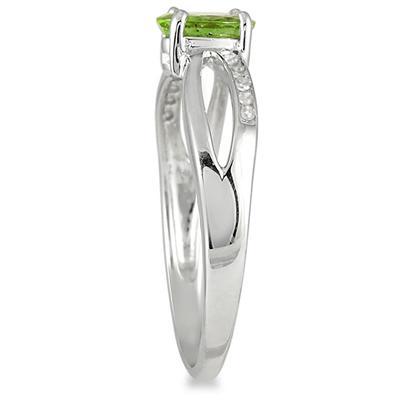 Peridot and Diamond Split Ring in 10K White Gold