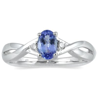 Tanzanite and Diamond Ring in 10K White Gold
