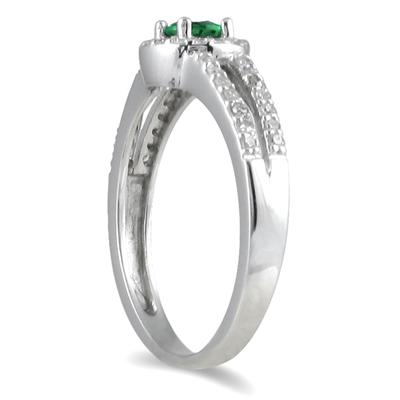 1/4 Carat TW Diamond and Emerald Ring in 10K White Gold