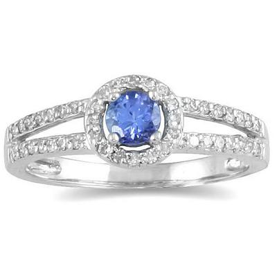 1/4 Carat TW Diamond and Tanzanite Ring in 10K White Gold