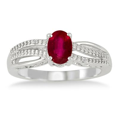 7x5mm Created Ruby and Diamond Ring in .925 Sterling Silver