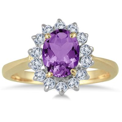 Morning Glory Oval Amethyst & Diamond Ring