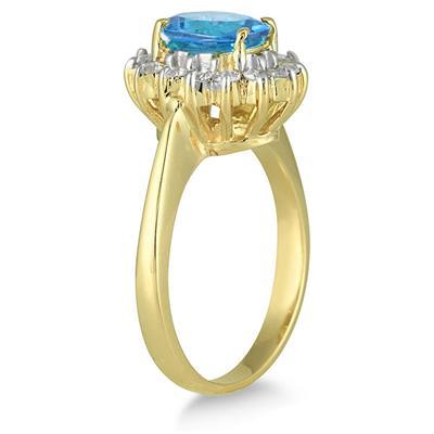 Morning Glory Oval Blue-Topaz & Diamond Ring