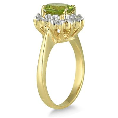 Morning Glory Oval Peridot & Diamond Ring