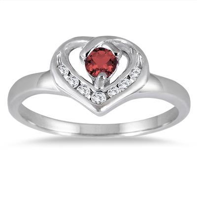 1/3 Carat Garnet and Diamond Heart Ring in 14K White Gold