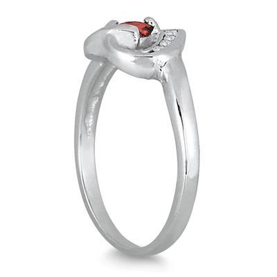 1/3 Carat Garnet and Diamond Heart Ring in 14K White Gold