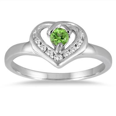 1/3 Carat Peridot and Diamond Heart Ring in 14K White Gold