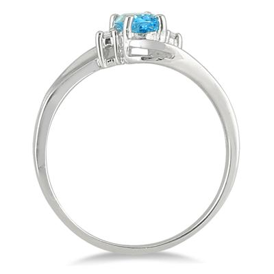 Blue Topaz Gemstone and Diamond Wave Ring 14k White Gold