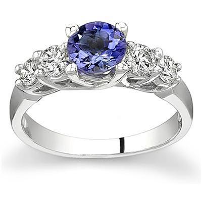 5 Stone Tanzanite and Diamond Ring