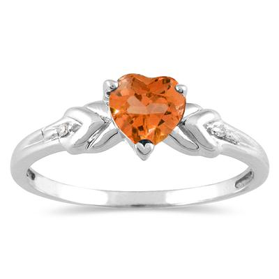 Heart Shaped Citrine and Diamond Heart Ring