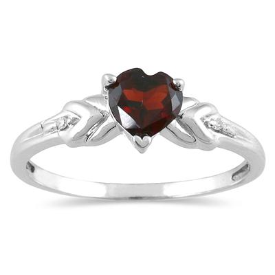 Heart Shaped Garnet and Diamond Heart Ring