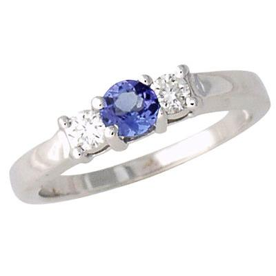 Three Stone Diamond and Tanzanite Ring