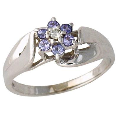 Tanzanite and Diamond Flower Petal Ring