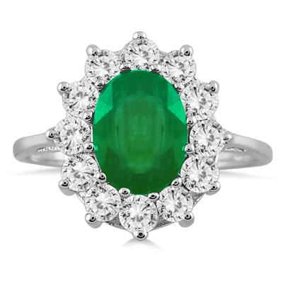 3 Carat TW Diamond and Emerald Ring in 14K White Gold